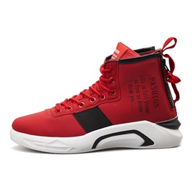 Ericdress High Top Lace-Up Flat With Round Toe Men's Sneakers