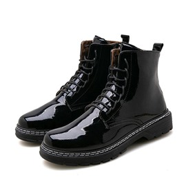 Ericdress Flat With Plain Side Zipper PU Chic Men's Boots