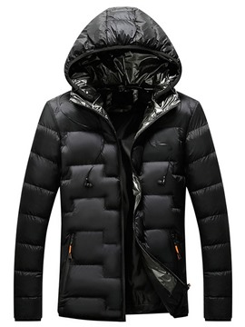 Ericdress Hooded Standard Patchwork Zipper European Men's Down Jacket