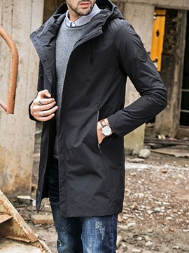 Ericdress Hooded Zipper Plain Loose Casual Men's Trench Coat