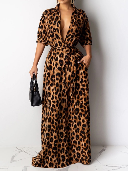 Ericdress Floor-Length Print Half Sleeve Fashion Leopard Dress