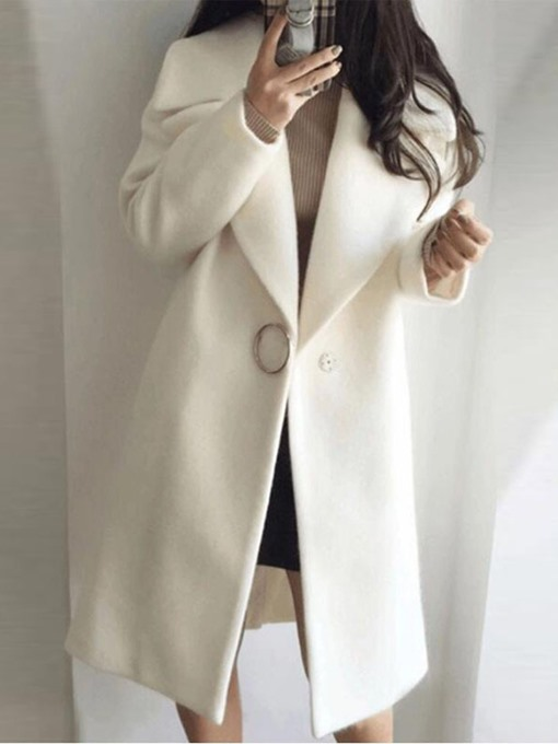 Ericdress One Button Loose Long Notched Lapel Women's Overcoat