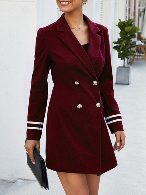 Ericdress Slim Double-Breasted Button Mid-Length Women's Overcoat
