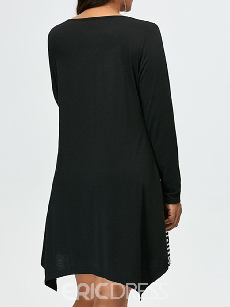Ericdress Long Sleeve Above Knee Print Asymmetrical Pullover Dress