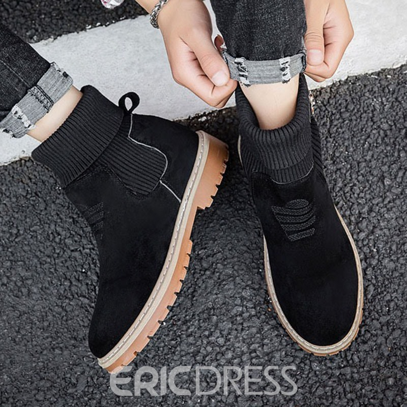 Ericdress Slip-On Plain Round Toe Suede Men's Ankle Boots