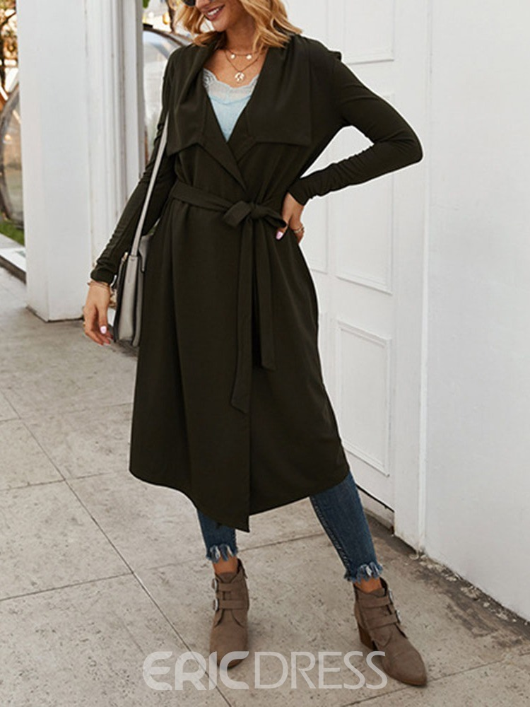 Ericdress Lace-Up Lapel Long Loose Women's Trench Coat