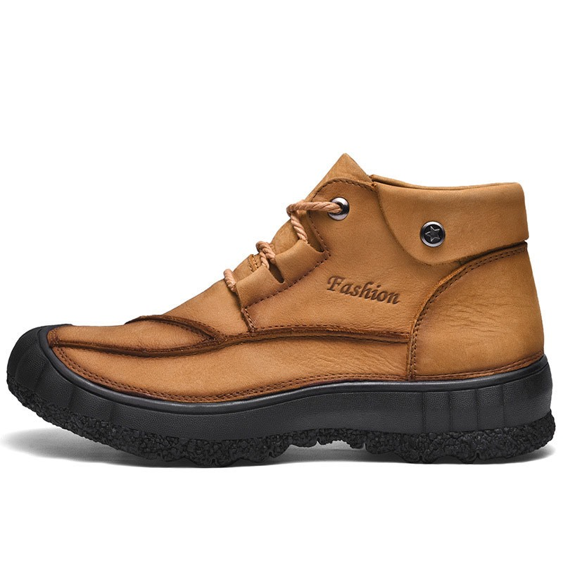 Ericdress Flat Round Toe Lace-Up Front PU Men's Boots