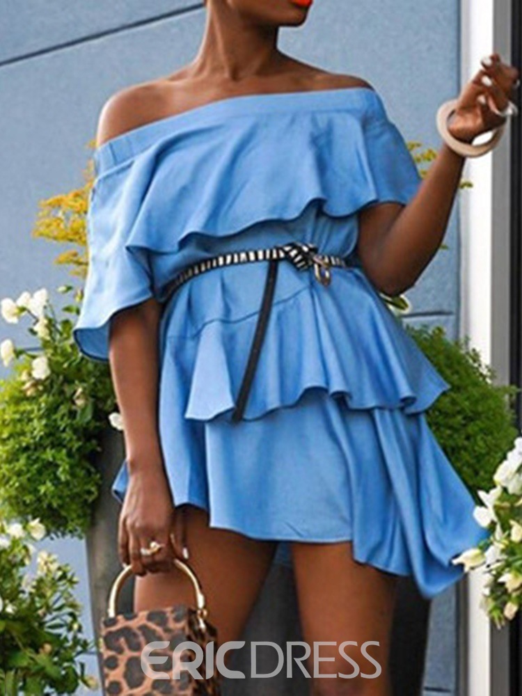 Ericdress Above Knee Off Shoulder Asymmetric Summer Casual Dress