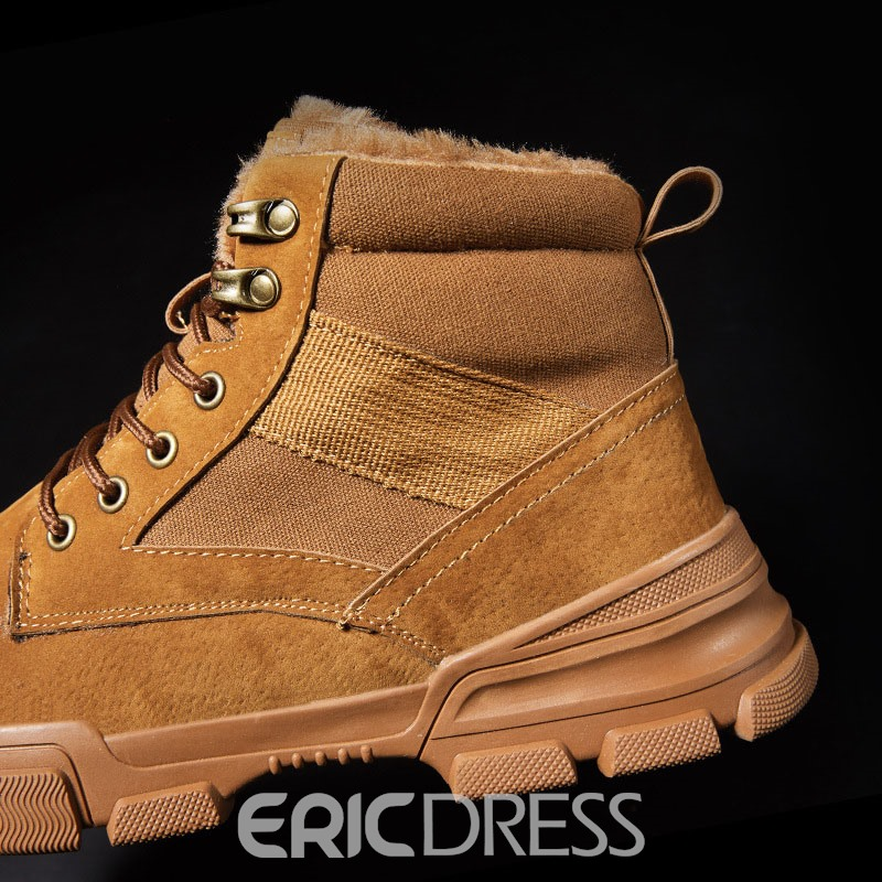 Ericdress Round Toe Platform Lace-Up Front Men's Suede Boots