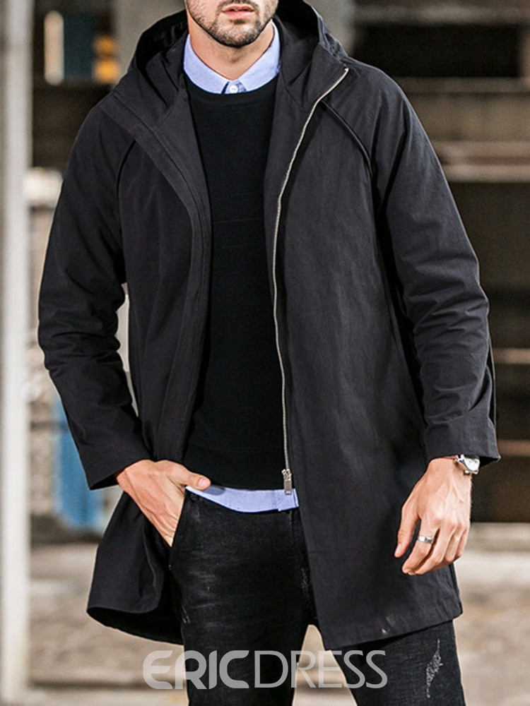 Ericdress Plain Hooded Mid-Length Casual Straight Men's Trench Coat