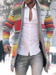 Ericdress Color Block Mid-Length Button Single-Breasted Mens Coat фото