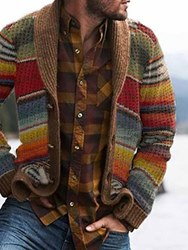 Ericdress Standard Color Block Button Single-Breasted Mens Sweater фото