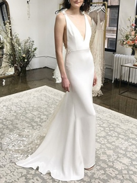 Ericdress Court Train V-Neck Appliques Mermaid Wedding Dress 2019