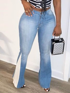 ericdress bellbottoms color block waschbar hohe taille slim jeans