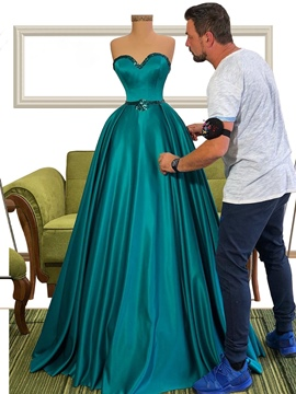 ericdress ärmellose A-Linie Perlen trägerlosen Celebrity Dress 2020