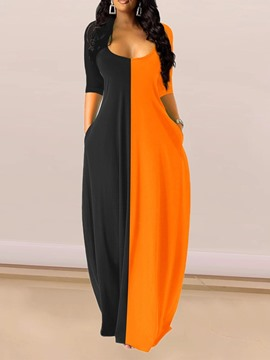 Ericdress Three-Quarter Sleeve Floor-Length Patchwork Color Block Pullover Dress