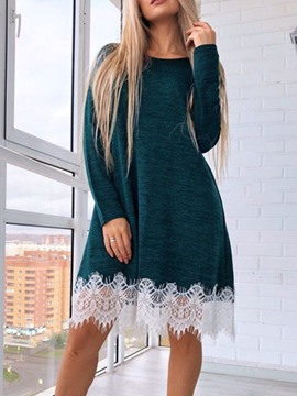 Ericdress Long Sleeve Knee-Length Patchwork Casual Pullover Dress