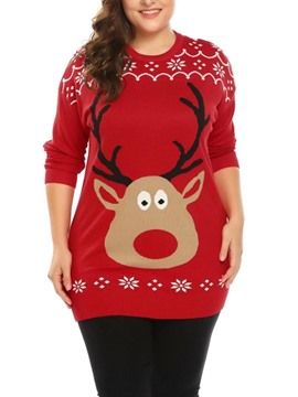 Ericdress Regular Regular Long Sleeve Round Neck Christmas Women's Sweater