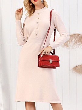 Ericdress Mid-Calf Long Sleeve Stand Collar Mid Waist Winter Dress