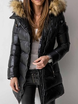 Ericdress Zipper Patchwork Straight Mid-Length Cotton Padded Women's Jacket