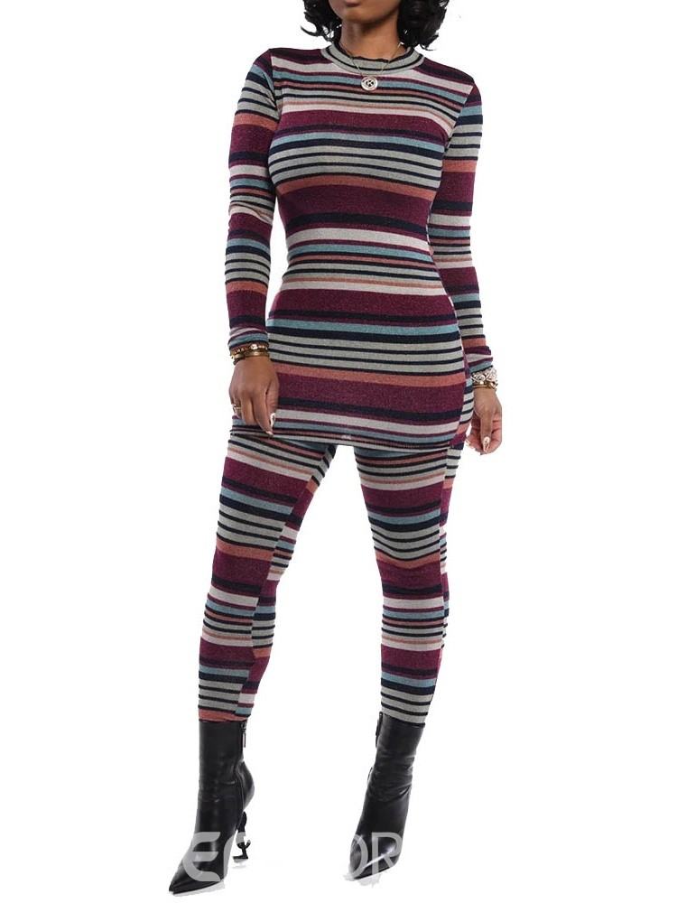 Ericdress Color Block Casual Stripe Round Neck Pullover Two Piece Sets