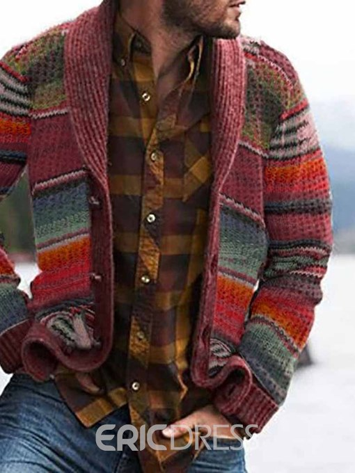 Ericdress Standard Color Block Button Single-Breasted Men's Sweater