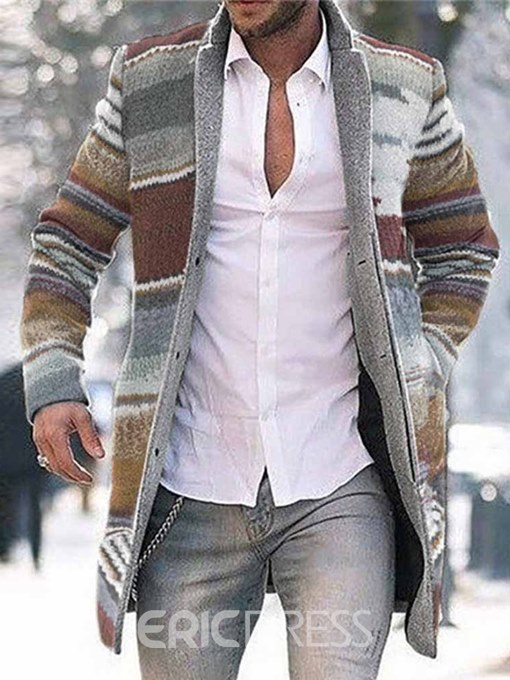 Ericdress Color Block Mid-Length Button Single-Breasted Men's Coat