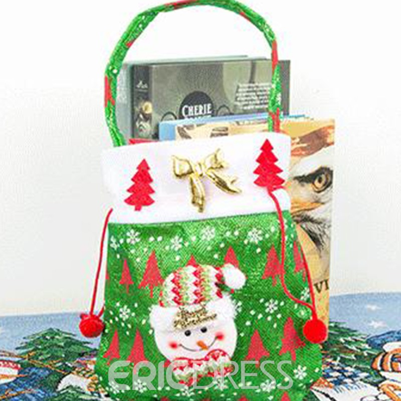 Ericdress Christmas Cartoon Barrel-Shaped Tote Bags Candy Bags