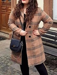 Ericdress Pius Size Loose Double-Breasted Notched Lapel Mid-Length Womens Overcoat