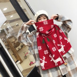 Ericdress Christmas Scarf Woolen Yarn Cartoon Scarves