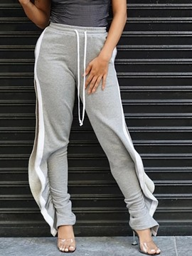 Ericdress Loose Split Color Block Full Length High Waist Casual Pants