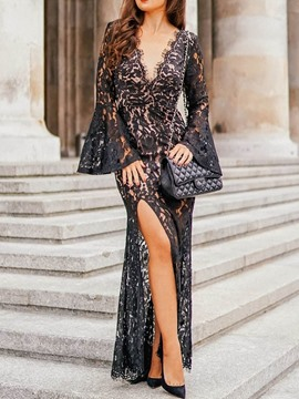 Ericdress Floor-Length V-Neck Lace Dress Fall Dress