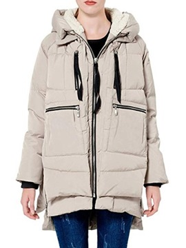 Ericdress Zipper Straight Pocket Mid-Length Cotton Padded Women's Jacket
