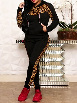 Ericdress Casual Color Block Pullover Leopard wo Piece Sets