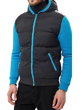 Ericdress Standard Color Block Hooded Casual Men's Down Jacket