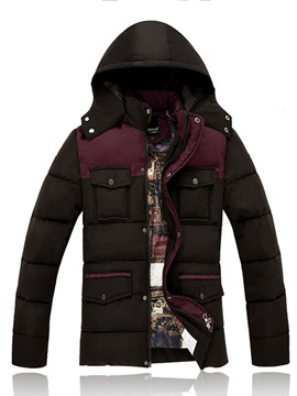 Ericdress Color Block Standard Hooded Casual Men's Down Jacket