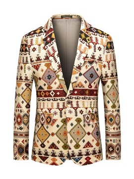 Ericdress Notched Lapel Print Color Block Men's Leisure Blazers
