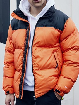 Ericdress Patchwork Color Block Standard Casual Men's Down Jacket