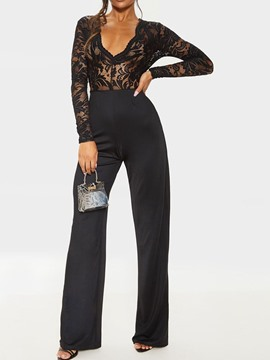 Ericdress Lace Plain Casual Full Length Slim High Waist Jumpsuit