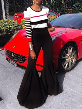 Ericdress Casual Color Block Bellbottoms Pullover Two Piece Sets