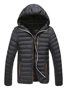 Ericdress Zipper Hooded Plain Casual Men's Down Jacket