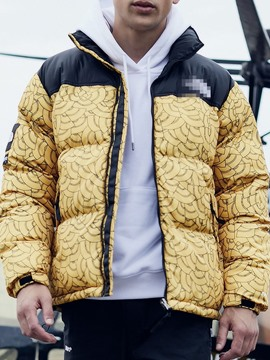 Ericdress Color Block Standard Print Zipper European Men's Down Jacket