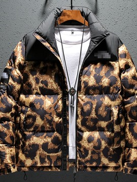 Ericdress Leopard Standard Print Zipper European Down Jacket