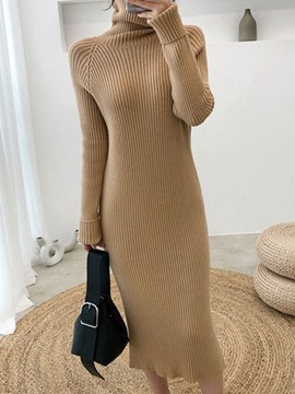 Ericdress Turtleneck Mid-Calf Long Sleeve Pullover Dress