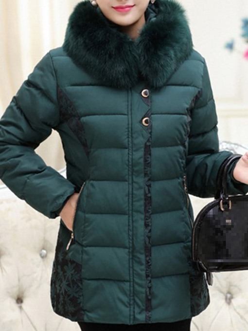 Ericdress Plus Size Thick Patchwork Slim Mid-Length Cotton Padded Women's Jacket