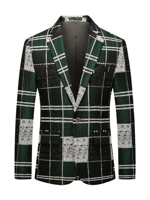 Ericdress Button Plaid Notched Lapel Men's Leisure Blazers