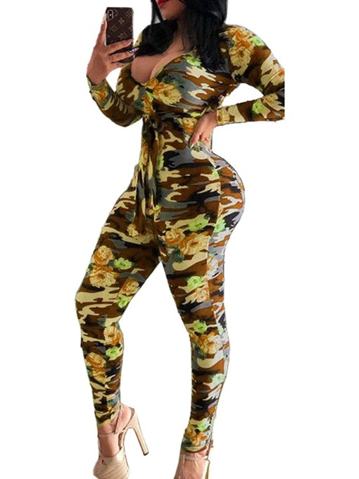 Ericdress African Fashion Dashiki Full Length Casual Skinny Jumpsuit