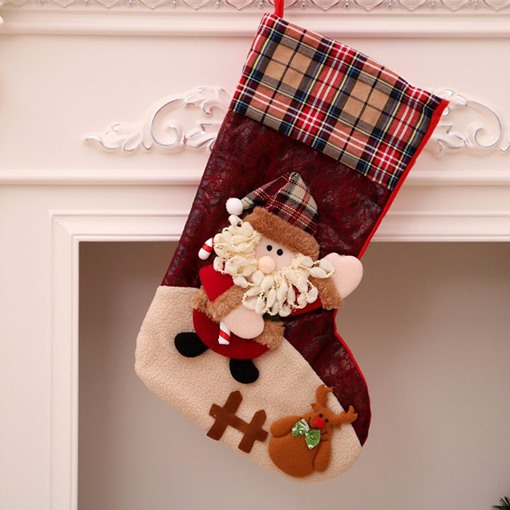 Ericdress Christmas Cartoon Cloth Decoration Stocking