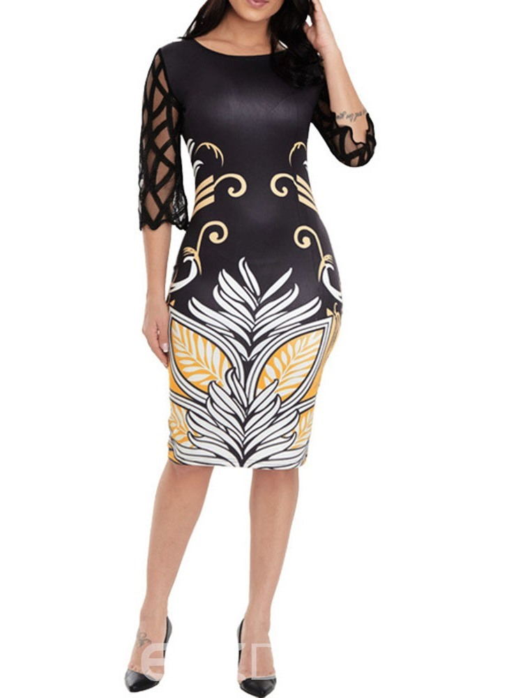 Ericdress Round Neck See-Through Knee-Length Pullover Geometric Dress