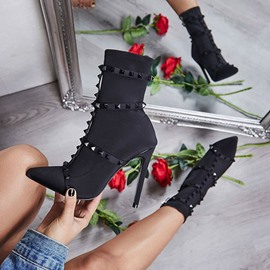 Ericdress Slip-On Stiletto Heel Plain Rivet Ankle Boots